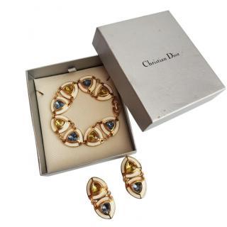 Christian Dior Gold Tone Crystal Bracelet & Earrings