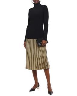 Tory Burch Metallic Gold Pleated Midi Skirt