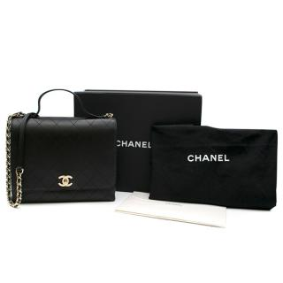 Chanel Black Calfskin Flap Bag with Top Handle