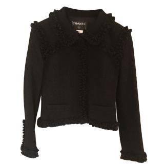 Chanel little classic black wool jacket