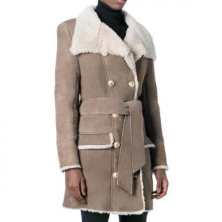Balmain double breasted lambskin coat