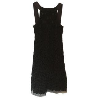Chanel Black Floral Embroidered Dress