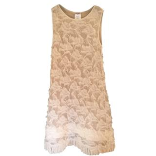 Chanel Cream Lace Embroidered Fringed Sleeveless Dress