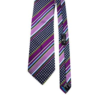 Etro Purple Multi-Print Silk Tie