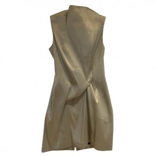 Victoria Beckham For Selfridges Gold Twist Waist Mini Dress