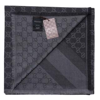 Gucci Monogram Silk & Wool Scarf