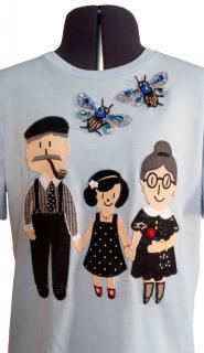Dolce & Gabbana Blue Family Embellished T-Shirt