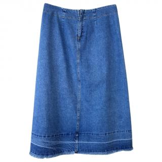 Sea NY Blue Denim A-Line Skirt