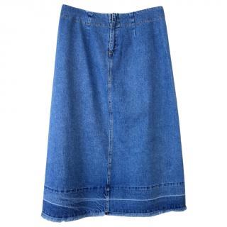 Sea NY Blue Denim A-Line Skirt