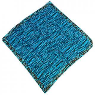 Louis Vuitton Blue Leopard Print Silk Scarf