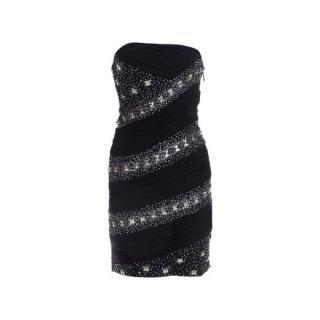 Roberto Cavalli Black Strapless Embellished Mini Dress