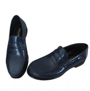Dolce & Gabbana Men's Blue Leather Loafers