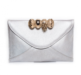 Maison Du Posh Silver Leather Envelope Knuckle Clutch