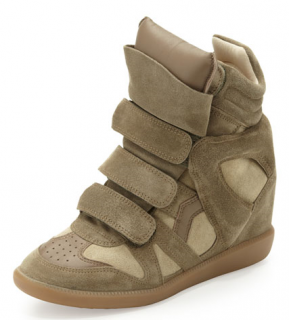 Isabel Marant Beckett Suede Wedge Sneakers in Taupe