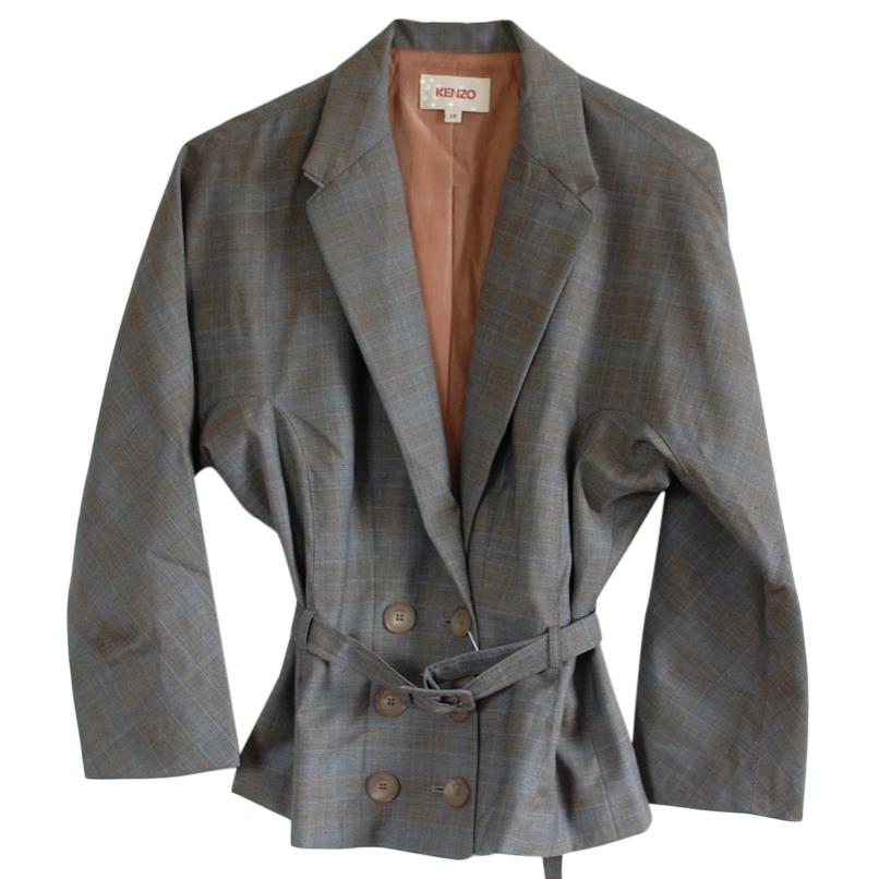 Kenzo Plaid Belted Blazer