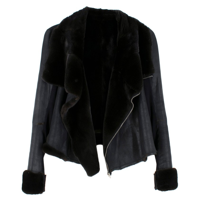 Rick Owens Hun Collection Black Double Faced Mink Fur Jacket