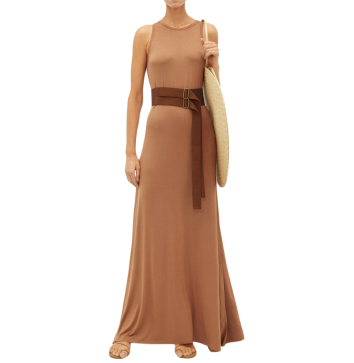 Albus Lumen Brown Sleeveless Belted Maxi Zara Dress