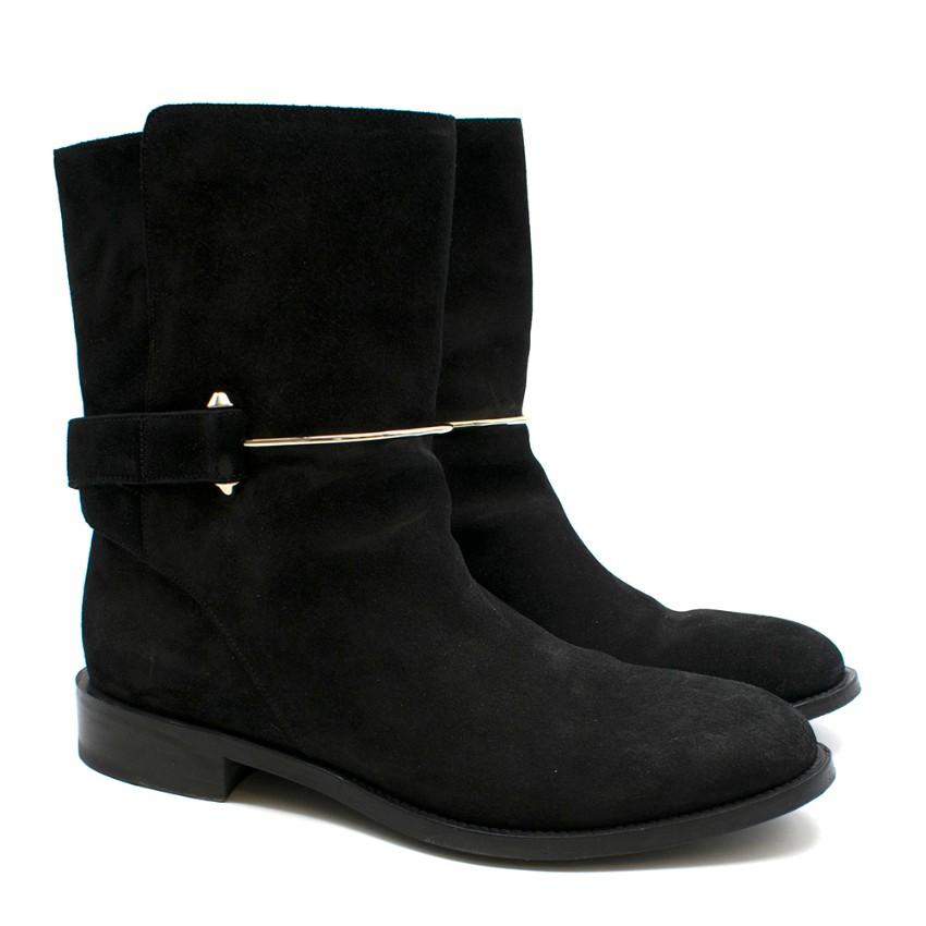 Balenciaga Black Suede Bar Buckle Detail Boots