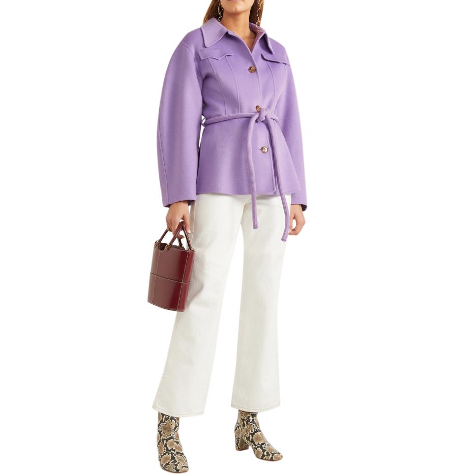 Nanushka Adut belted wool and silk-blend jacket