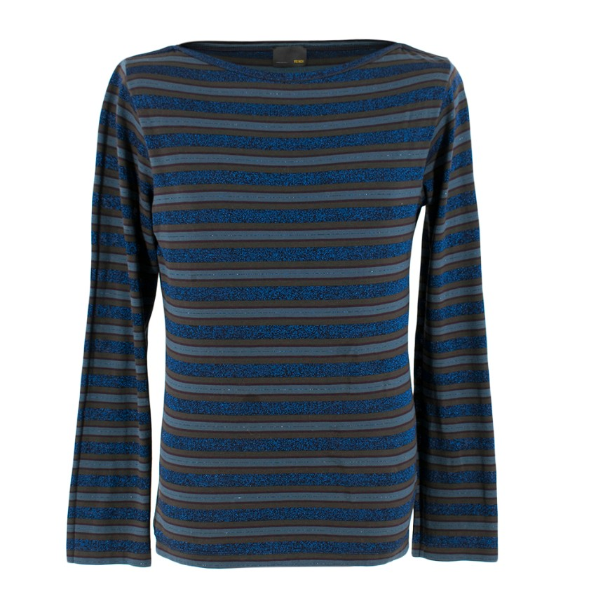 Fendi Blue Striped Glitter Long Sleeve Top