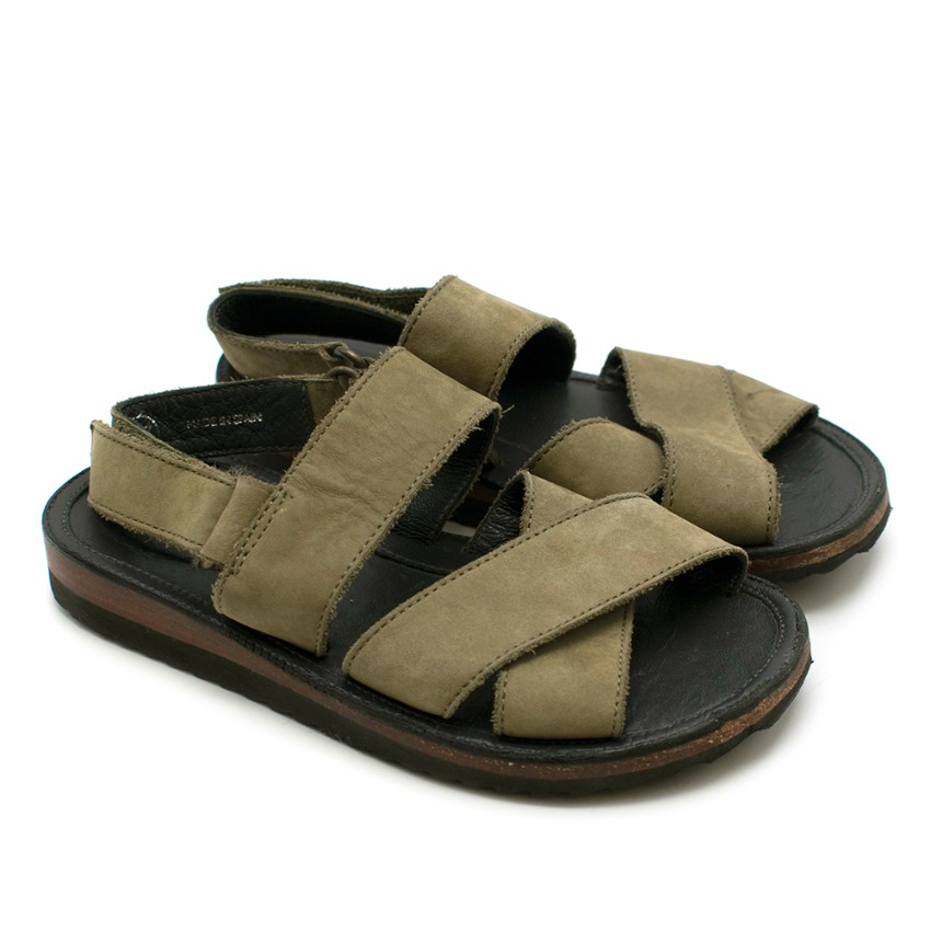 Bonpoint Green Suede Park Sandals