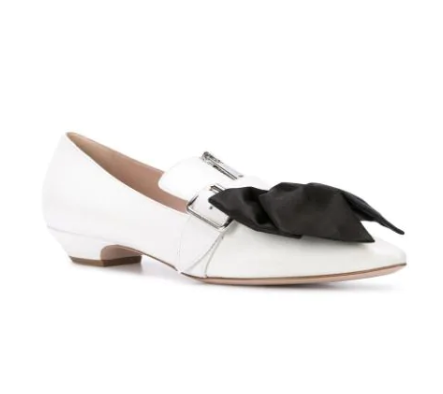 Miu Miu White Bow Detail Zip Ballerinas