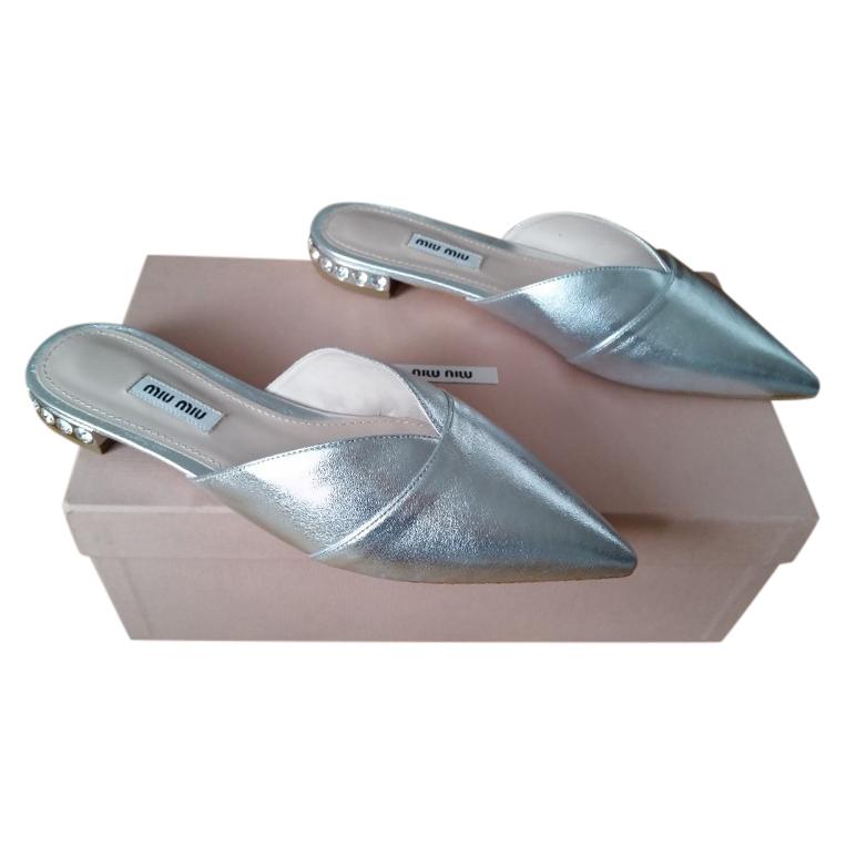 Miu Miu Silver Leather Crystal Heel Slides