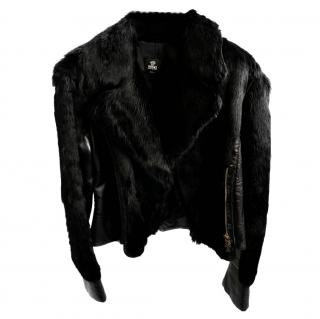 Versace Fur Panelled Leather Jacket