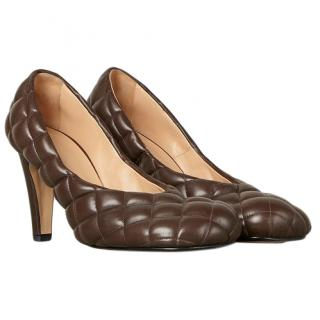 Bottega Veneta Padded Bloc Pumps in Chocolate Brown - Current
