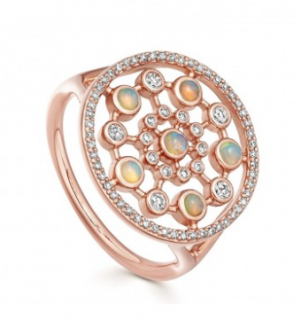 Astley Clarke Large Icon Nova Opal Ring in Rose Gold