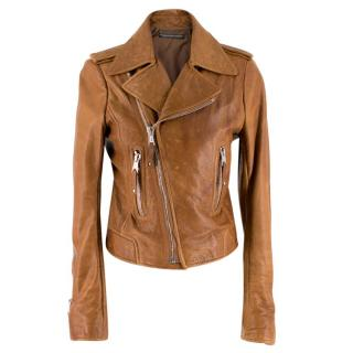 Balenciaga Brown Asymmetric Leather Jacket
