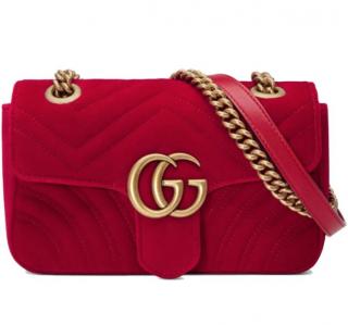 Gucci Red Velvet Marmont Mini Bag