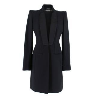 Alexander McQueen Black Longline Tuxedo Jacket with Satin Lapels