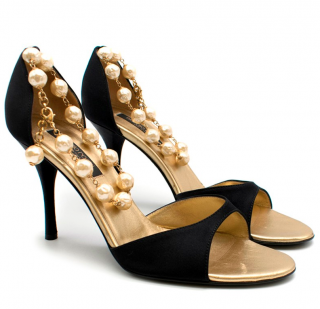 Sergio Rossi Black Satin Heels With Peal Ankle Strap