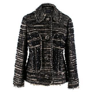 Simone Rocha Crystal-Embellished Metallic Tweed Jacket