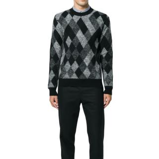 Saint Laurent black & grey argyle sweater