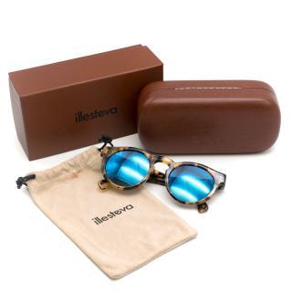 Illesteva Leonard Blue Mirrored Sunglasses