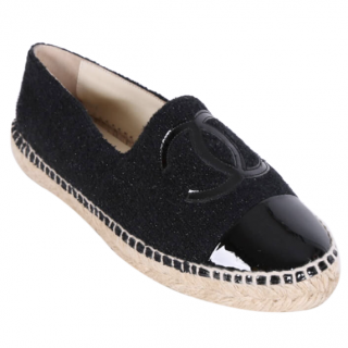 Chanel Tweed & Patent Leather Cap-Toe Espadrilles