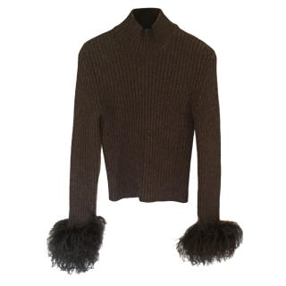 Valentino Ribbed Charcoal Sweater with Marabou Feather Cuffs