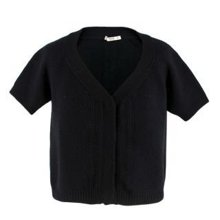 Prada Black Wool Short Sleeve Cropped Cardigan