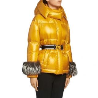 Prada Yellow Puffer Jacket with Fox Fur Trim