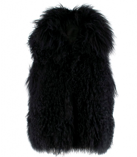 PAROSH Black Mongolian Fur Sleeveless Gilet