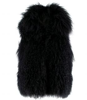 PAROSH Black Mongolian Fur Sleeveless Gilet