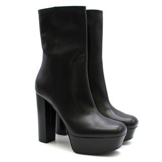 Gucci Black Leather Platform Heeled Boots
