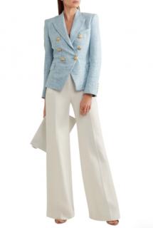 Balmain Blue Cotton-blend tweed blazer