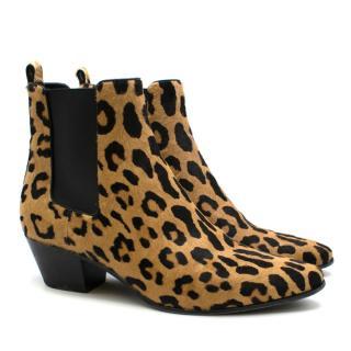 Saint Laurent Leopard-print Calf Hair Ankle Boots
