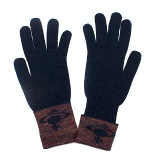 Vivienne Westwood Navy Wool Blend Knit Gloves