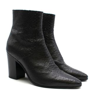 Saint Laurent Snake-effect Leather Ankle Boots