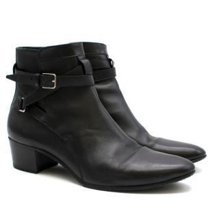 Saint Laurent Black Smooth Leather Ankle Boots