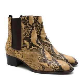 Saint Laurent Blake python-effect leather ankle boots